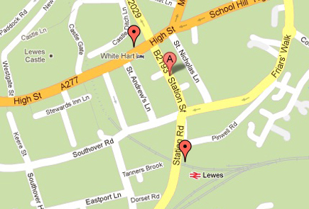 Brighton patients map of Bus Stop and Train Station relative to The Acupuncture Works in Lewes